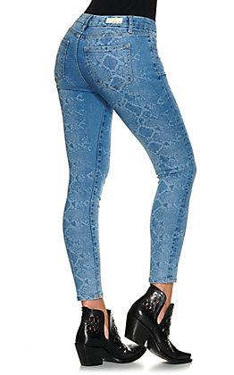 Miss Me Women's Light Wash Snake Print Mid-Rise Ankle Skinny Leg Jeans