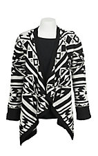 Derek Heart Girl's Black and Cream Aztec Print Long Sleeve Cardigan