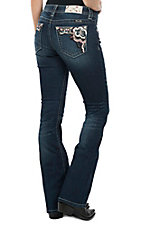 Miss Me Women's Dark Wash Multi-Color Stitching & Sequins Open Pocket Boot Cut Jeans
