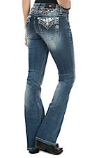 Miss Me Women's Medium Wash Diamond Open Flap Pocket Boot Cut Jeans