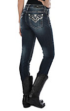 Miss Me Women's Dark Wash Chevron Silver Sequin Pocket Skinny Jeans