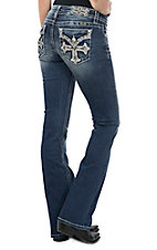 Miss Me Women's Dark Wash Cross Open Flap Pocket Boot Cut Jeans