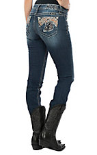 Miss Me Women's Layered Chevron Embroidery & Sequin Straight Leg Jeans