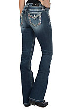 Miss Me Women's Red Stitch With Sequins Flap Pocket Boot Cut Jeans