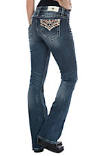 Miss Me Women's Tribal Embroidery & Studs Pocket Boot Cut Jeans