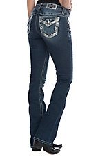 Miss Me Women's Embroidered Edge with Sequins Open Flap Pocket Boot Cut Jeans