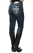 Miss Me Women's Dark Wash Tribal Leather on Winged Cross Pocket Straight Leg Jeans