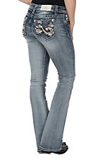 Miss Me Women's Light Wash w/ Pink Flowers On Open Pocket Boot Cut Jeans
