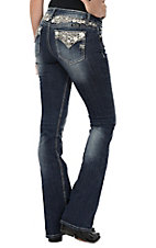 Miss Me Women's Dark Wash Floral Leafy Open Flap Pocket & Waist Boot Cut Jeans