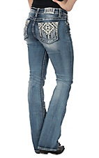 Miss Me Women's Medium Wash w/ Aztec Open Pocket Boot Cut Jeans