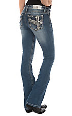 Miss Me Women's Medium Wash Cross W/ Wings Boot Cut Jeans