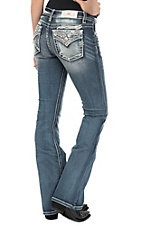 Miss Me Women's Medium Wash Leaves Open Flap Pocket Boot Cut Jeans