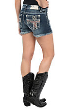 Miss Me Women's Red and White Embroidered Cross with Star Studded Detailing Open Flap Pocket Jean Shorts