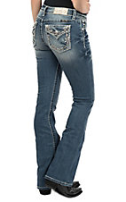 Miss Me Women's Medium Wash Floral Embroidered Open Flap Pocket Boot Cut Jeans