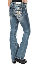 Miss Me Women's Medium Wash Cross Open Pocket Boot Cut Jeans