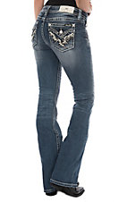 Miss Me Women's Medium Wash Stitch and Pyramid Flap Pocket Boot Cut Jeans