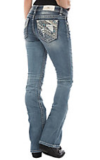 Miss Me Women's Light Wash Distressed Patch w/ Crystals Boot Cut Jeans