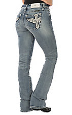 Miss Me Women's Light Wash Cross with Wings Boot Cut Jeans