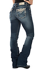 Miss Me Women's Dark Wash w/ Gold Crystal Open Flap Pocket Boot Cut Jeans