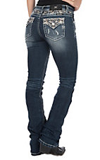 Miss Me Women's Chloe Medium Wash Chevron Embroidery with Sequins and Rhinestones Boot Cut Jeans
