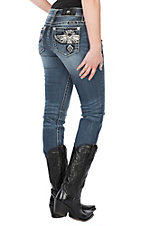 Miss Me Women's Medium Wash Tribal Phoenix Pocket Straight Leg Jeans