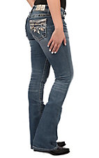 Miss Me Women's Floral Embellished Mid Rise Boot Cut Jeans