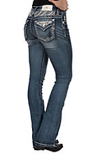 Miss Me Women's Lace Flap Pocket Boot Cut Jeans