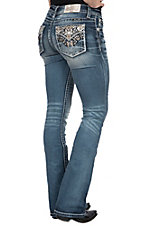 Miss Me Women's Dark Wash Aztec Open Flap Pocket Boot Cut Jeans