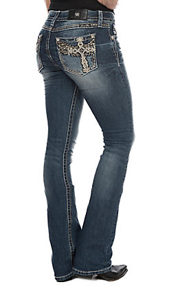 Miss Me Women's Dark Wash Winged Cross Boot Cut Jeans