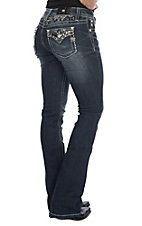 Miss Me Women's Bling Flap Pocket Boot Cut Jeans