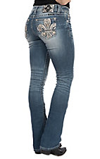 Miss Me Women's Fleur De Lis Daisy Open Pocket Boot Cut Jeans
