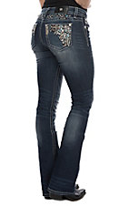Miss Me Women's Feathered Embroidered Diamond Waist Boot Cut Jean