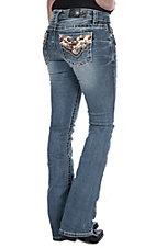 Miss Me Women's Cowhide Open Pocket Boot Cut Jeans