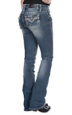 Miss Me Women's Medium Wash Rhinestone & Sequin Edge Open Flap Pocket Boot Cut Jeans