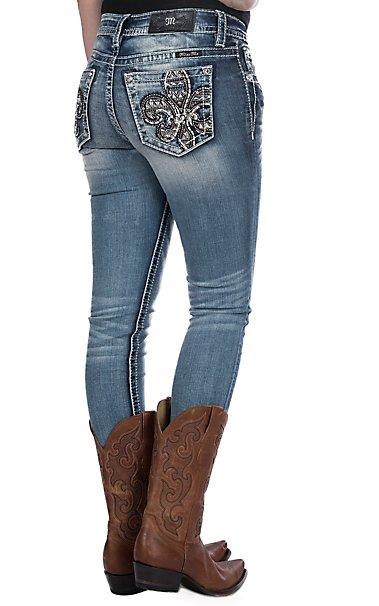 Miss Me Women s Tribal Fleur De Lis Open Pocket Skinny Jeans ... d5a6548b8