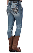 Miss Me Women's Tribal Fleur De Lis Open Pocket Skinny Jeans