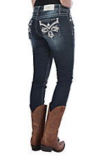 Miss Me Women's Swirl Cross Flap Straight Leg Jeans
