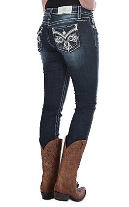 Miss Me Women's Swirl Cross Flap Straight Leg Jeans
