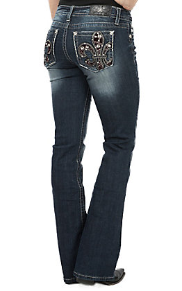 Miss Me Women's Flowing Fleur Boot Cut Jeans