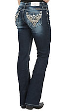 Miss Me Women's Studded Heart Mid Rise Flap Pocket Boot Cut Jeans