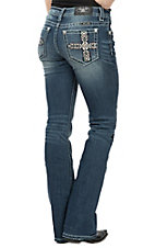 Miss Me Women's Dark Wash Southwestern Tribal Cross Boot Cut Jeans
