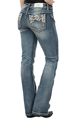 Miss Me Women's White Leather Flower Open Pocket Boot Cut Jeans