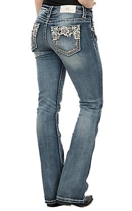 Miss Me Women's White Leather Flower Open Pocket Boot Cut Jeans