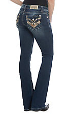 Miss Me Women's Paisley Embroidered Dark Wash Boot Cut Jeans