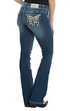 Miss Me Women's Dream Catching Mid Rise Medium Wash Boot Cut Jeans