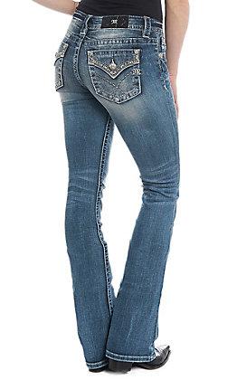 Miss Me Women's Feminine Power Light Wash Boot Cut Jean