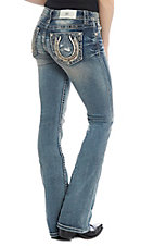 Miss Me Women's Lucky Girl Horseshoe Light Wash Boot Cut Jeans