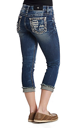 eacf5560ef7 Miss Me Women s Dark Wash Distressed Embroidered Open Pocket Capri Jeans
