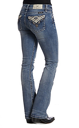 Miss Me Women's Abstract Love Boot Cut Jeans