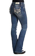 Miss Me Women's Aztec Sequin Embroidered Medium Wash Boot Cut Jeans